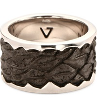 Seven London Leather Detail Silver Band Ring