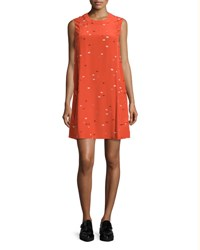 Grey Jason Wu Sleeveless Dash Print Shift Dress Tangerine Multi