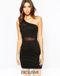 Naanaa One Shoulder Mesh Insert Bodycon Dress With Cut Out Strap Back Black