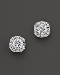 Bloomingdale's Halo Earrings In 14K White Gold .50 Ct. T.W. White Gold White Diamonds