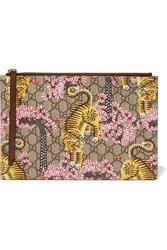 Gucci Printed Coated Canvas And Textured Leather Pouch Beige
