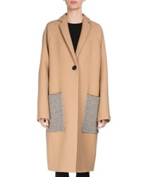 Proenza Schouler Long Patch Pocket Wool Coat Camel
