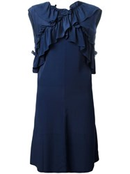 Marni Sleeveless Ruffled Dress Blue
