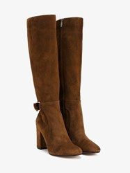 Gianvito Rossi Suede Knee High Boots Brown Silver