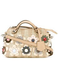 Fendi By The Way Embroidered Tote Nude Neutrals