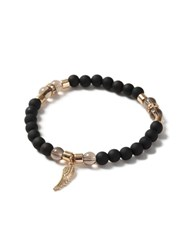 Topman Black And Gold Look Rubberised Beaded Feather Drop Bracelet