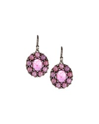 Bavna Pink Sapphire Diamond And Composite Ruby Drop Earrings