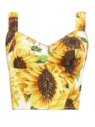 Dolce And Gabbana Sunflower Print Crepe Cropped Top Yellow Multi