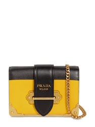 Prada Small Cahier Leather Shoulder Bag Yellow Black