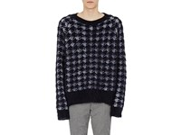 Haider Ackermann Men's Houndstooth Mohair Silk Oversized Sweater Black White No Color