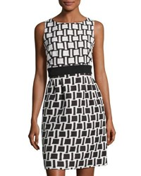Tahari By Arthur S. Levine Sleeveless Jacquard Sheath Dress White Black