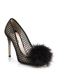 Miu Miu Feather And Crystal Embellished Mesh Pumps Black
