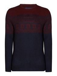 Criminal Men's Casey Snowflake Fairisle Jumper Navy