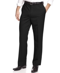 Louis Raphael Pants Straight Fit Washable Wool Hidden Extension Pants Black