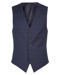 Jaeger Men's Regular Highlight Glen Check Waistcoat Blue