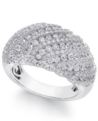 Arabella Swarovski Zirconia Dome Cluster Statement Ring In Sterling Silver White