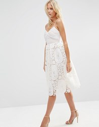 Asos Prom Dress With Pleat Bust And Lace Skirt Nude Pink