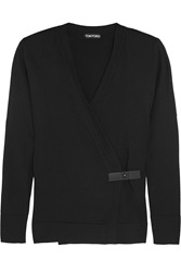 Tom Ford Leather Trimmed Cashmere Wrap Cardigan