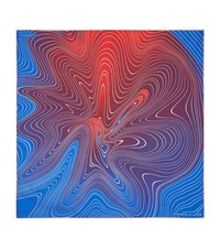 Turnbull And Asser Swirl Print Silk Pocket Square Unisex Blue