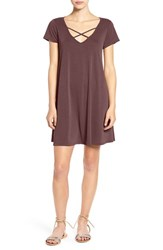 Socialite Women's Cross Front T Shirt Dress Deep Burgundy