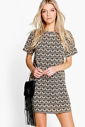 Boohoo Geo Print Shift Dress Nude