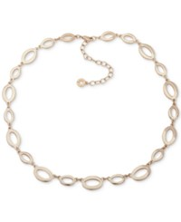 Anne Klein Gold Tone Oval Link Collar Necklace 16 3 Extender