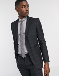 Ben Sherman Charcoal Plaid Check Slim Fit Suit Jacket Grey