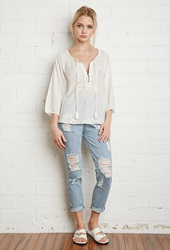 Forever 21 Embroidered Peasant Blouse Cream