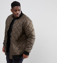 Loyalty And Faith Plus Quilted Zip Thru Bomber Jacket Green