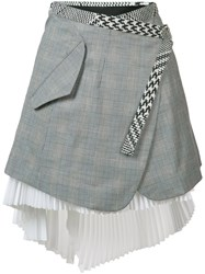 Sacai Asymmetric Wrap Skirt Grey