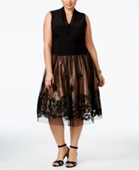 Si Fashions Sl Plus Size Embellished Fit And Flare Dress Black Gold