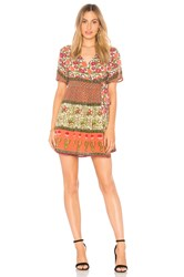 Raga Enchanted Forest Short Wrap Dress In Coral