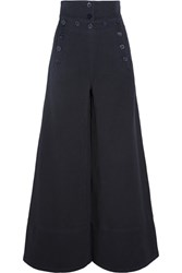 Chloe Cotton Blend Twill Wide Leg Pants Midnight Blue