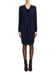 Alexis Mabille Knitted Dress With Knotted Neckline Navy Blue
