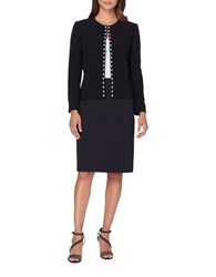 Tahari By Arthur S. Levine Faux Pearl Accented Suit Set Black