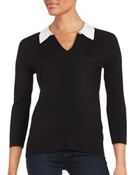 Karl Lagerfeld Collared Knit Sweater Black