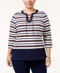 Charter Club Plus Size Striped Lace Up Top Only At Macy's Intrepid Blue Combo