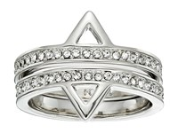 Rebecca Minkoff Two Piece Stack Triangle Ring Imitation Rhodium Crystal Ring Silver