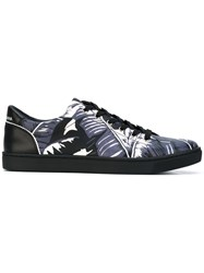 Dolce And Gabbana Palm Print Low Top Sneakers Men Calf Leather Leather Rubber 40 Pink Purple