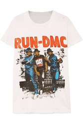 Madeworn Run Dmc Distressed Printed Cotton Jersey T Shirt Off White