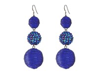 Kenneth Jay Lane Triple Graduated Blue Ball Fish Hook Ear End Balls Thread Wrap Center Sparkle Wire Earrings Blue Earring