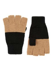 Topman Black And Grey Colour Block Fingerless Gloves