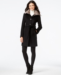 Calvin Klein Faux Fur Collar Belted Peacoat Black