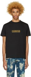 Palm Angels Black Glitter Logo T Shirt