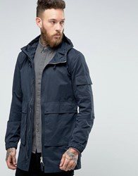 Bellfield Two Way Zip Parka With Drawstring Hood Navy