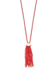 T And C Theodora And Callum Seed Bead Lariat Tassel Necklace Coral