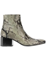 Acne Studios Snake Print Ankle Boots Green