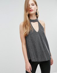New Look Choker Strappy Cami Black Pattern