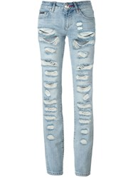 Philipp Plein 'Obsessed' Ripped Jeans Blue
