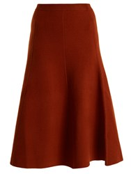 Joseph A Line Wool Blend Midi Skirt Brown
